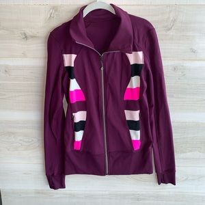 Lululemon Plum Purple Striped Stride Yoga Jacket